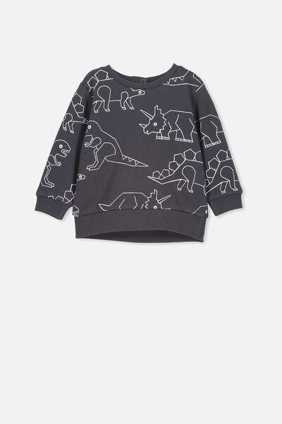Billie Sweater, GRAPHITE GREY/DINOSAURS