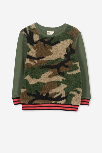Lachy Crew Sweater, GRAPHITE/CAMO SHERPA