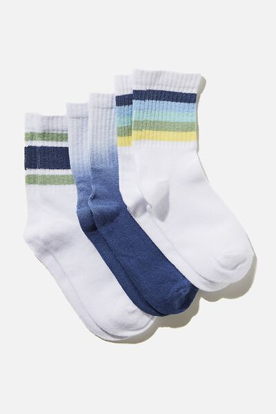 Kids 3Pk Crew Socks, OMBRE BLUE