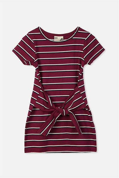 Montana Short Sleeve Dress, MAGENTA PURPLE/STRIPE