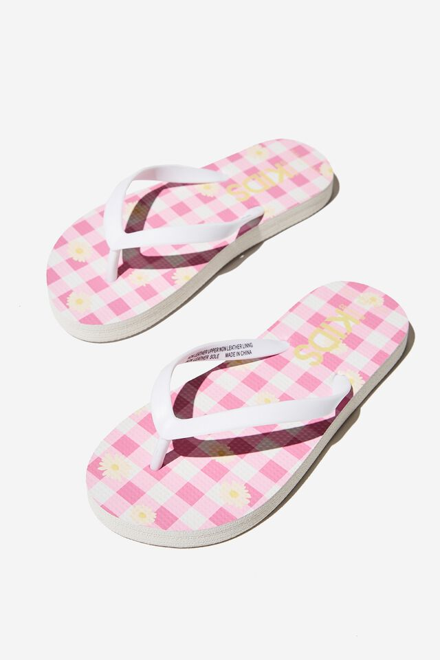 Printed Flip Flop, PINK GINGHAM DAISY