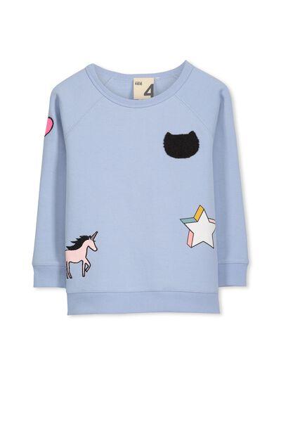 Sage Raglan Sweater, EXCLUSIVE BLUE/BADGES