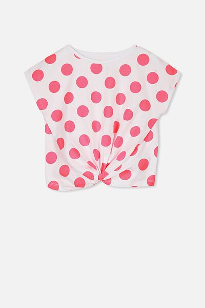 Tabitha Twist Top, WHITE/FIZZY PINK LARGE SPOTS