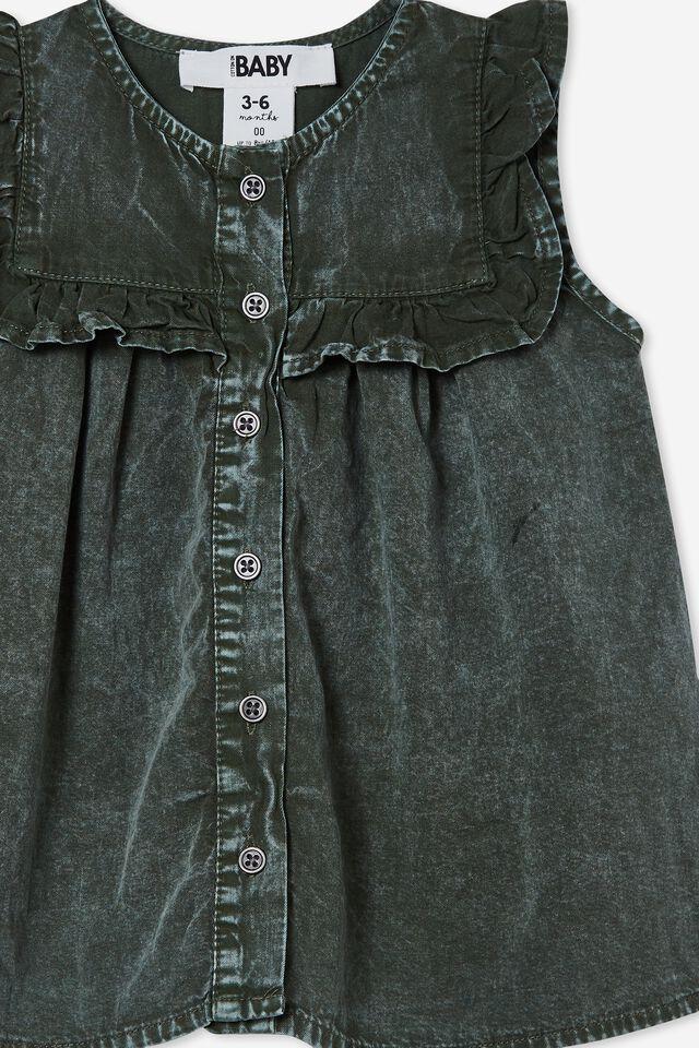 Fifi Sleeveless Frill Dress, SWAG GREEN WASH