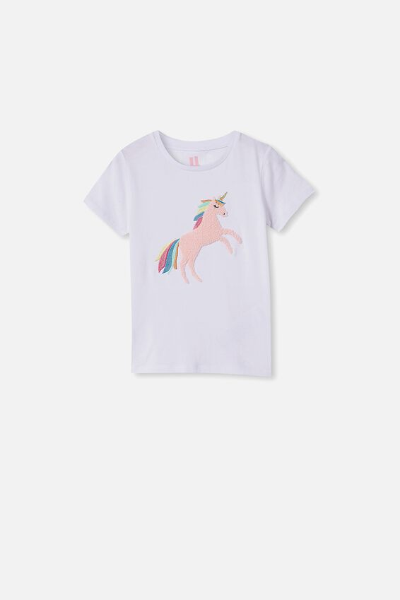 Stevie Short Sleeve Embellished Tee, WHITE/ APPLIQUE UNICORN