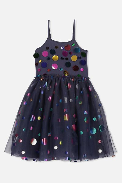 Iris Tulle Dress, INK/MULTI SPOT