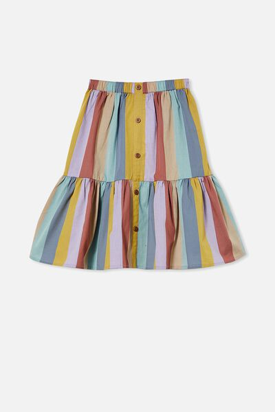 Adele Skirt, AUTUMN RAINBOW STRIPE