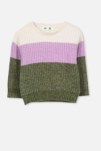Shelly Knit Jumper, OAT/BLOCK STRIPE