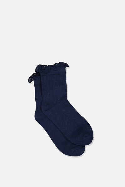 Fashion Kooky Socks, NAVY RUFFLE
