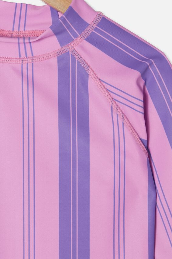 Hamilton Long Sleeve Rashie, PURPLE PARADISE/VERTICAL STRIPE
