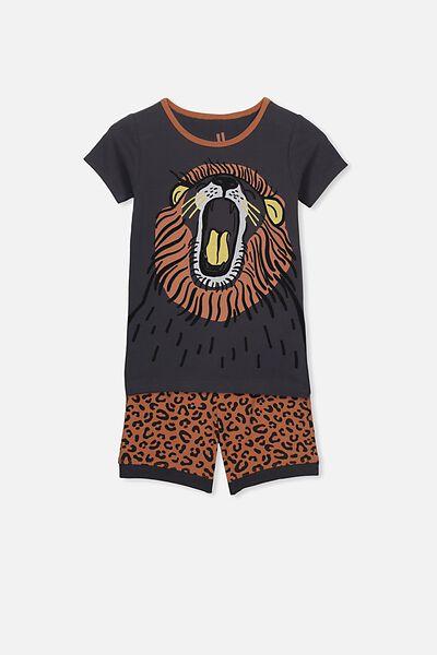 Ted Short Sleeve Pajama Set, ROAR LION