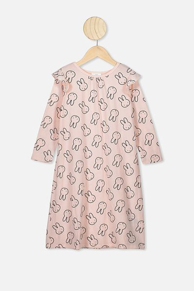 Laura Long Sleeve Long Nightie, LCN MIF CRYSTAL PINK/MIFFY ALL OVER
