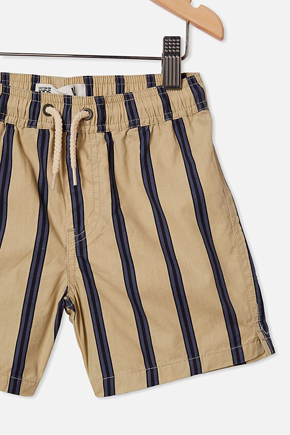 Volly Short, SEMOLINA/NAVY VERTICAL STRIPE