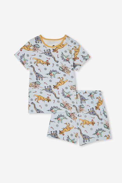 Hudson Short Sleeve Pyjama Set, XMAS SWEATER DINO/FROSTY BLUE