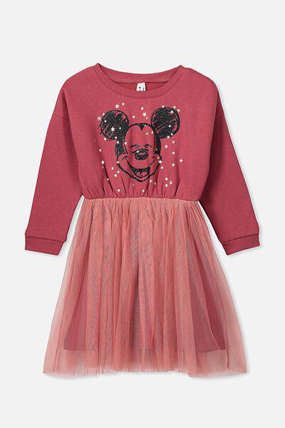 Vivienne Long Sleeve Dress, LCN DIS/EARTH RED/MICKEY