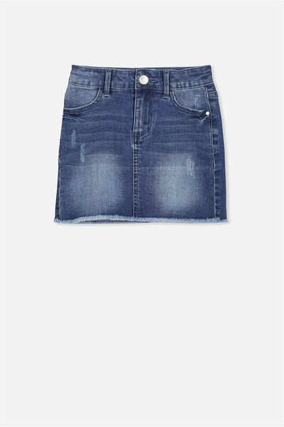 Francie Denim Skirt, MID BLUE WASH