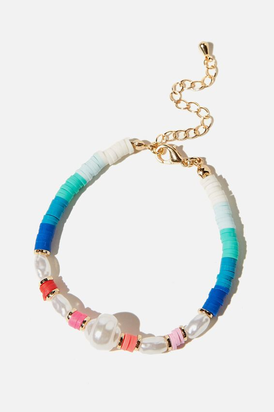 Kids Fashion Jewellery Bracelet, BLUE PEARLY DISC