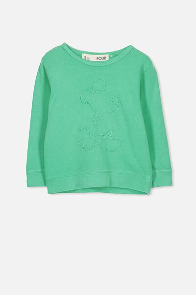 Lux Crew, EMBROIDERED MICKEY/ECO GREEN/DROP