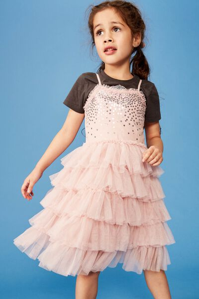 Iris Tulle Dress, DUSTY PINK/PRETTY RUFFLES