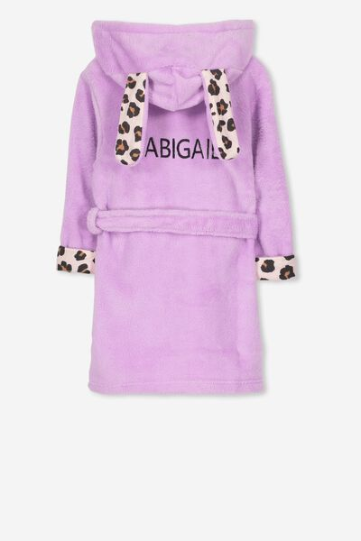 Personalised Girls Hooded Gown, ANIMAL BUNNY PERSONALISED