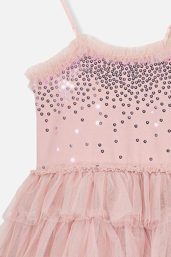 Iris Tulle Dress, DUSTY PINK/PRETTY RUFFLES