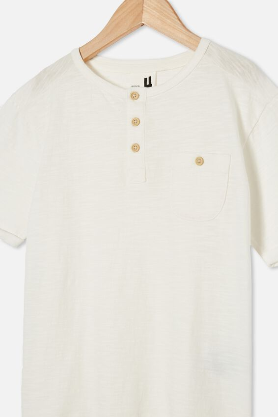 Madden Short Sleeve Henley Loose Fit Tee, RETRO WHITE