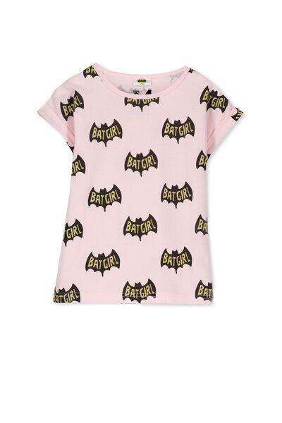 Girls Short Sleeve Halloween Tee, BATGIRL/PINK PASTEL