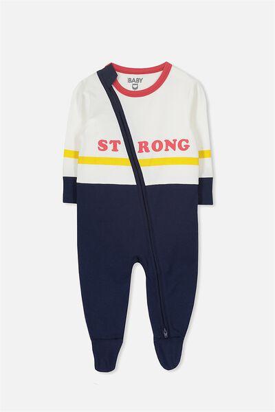 Sleep Mini Zip All In One Jumpsuit, VANILLA /STRONG BRAVE BOY