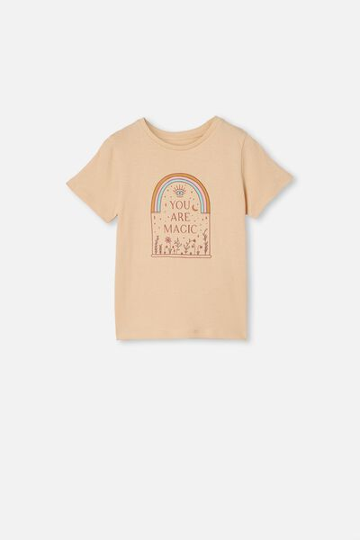 Penelope Short Sleeve Tee, PEACH SAND/YOU ARE MAGIC