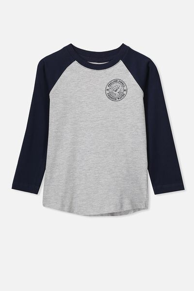 Tom Long Sleeve Raglan Tee, LIGHT GREY MARLE/CHASING WAVES