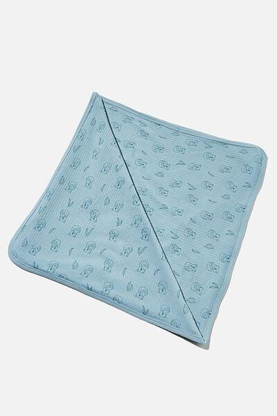Organic Newborn Blanket, RAIN CLOUD/CUDDLY KOALA