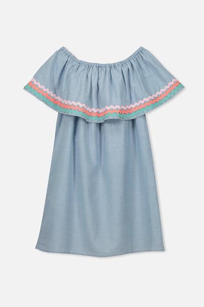Sarah Jane Dress, LIGHT CHAMBRAY/RIC RAC