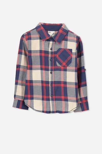 Noah Long Sleeve Shirt, RED MULTI CHECK