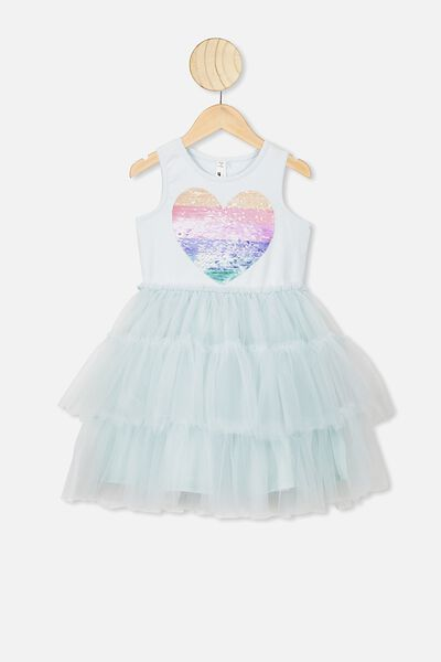 Iris Tulle Dress, LIGHT ETHER/HEART