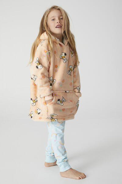 Snugget Kids Oversized Hoodie Licensed, LCN PEANUTS SNOOPY FLOWERS PEACH TANG