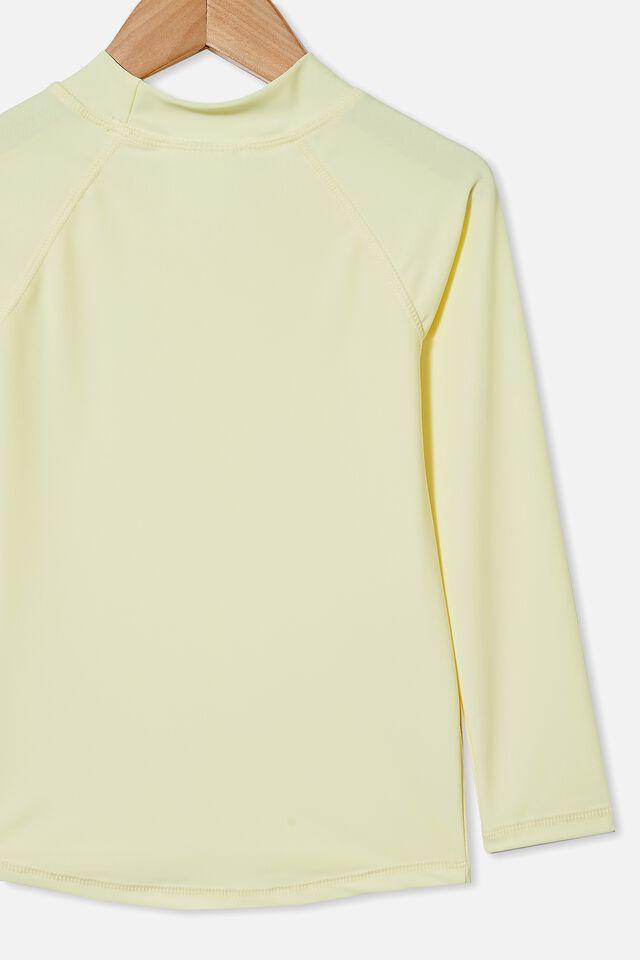 Flynn Long Sleeve Raglan Rash Vest, LEMONADE/SMILE