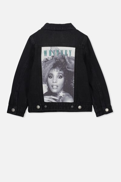e2256cc58597 Lux Quinn Denim Jacket, LCN BR BLACK WASH/WHITNEY HOUSTON