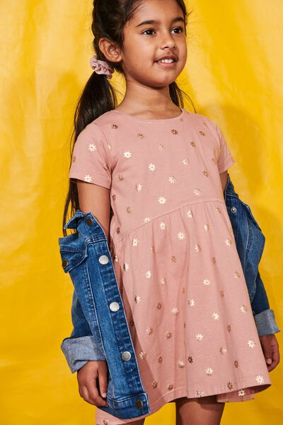 Freya Short Sleeve Dress, CAMEO BROWN/SIMPLE FLORAL