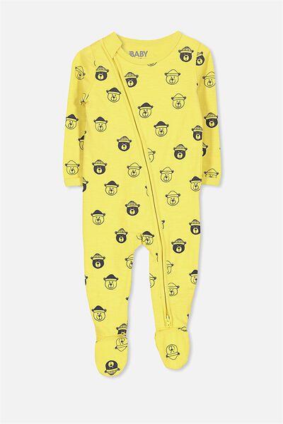 Sleep Mini Zip All In One Jumpsuit, WINTER YELLOW/BEARS