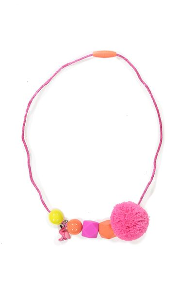Beaded Pom Pom Necklace, PINK