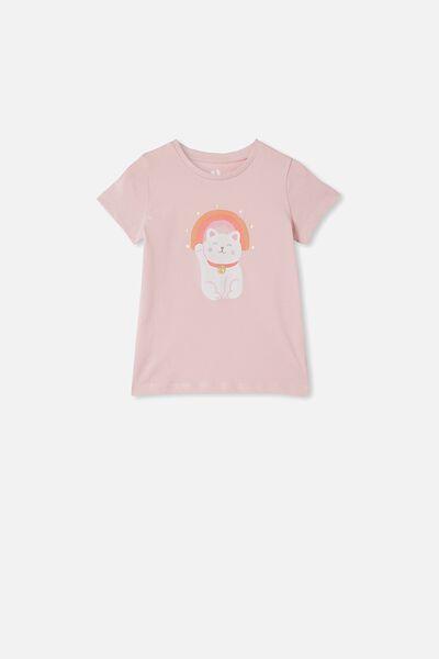 Penelope Short Sleeve Tee, PINK QUARTZ/RAINBOW KITTY