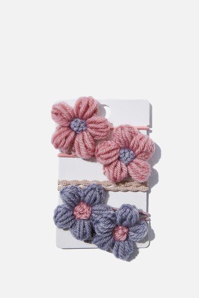 Hannah Hair Ties, PINK BLUE FLOWERS