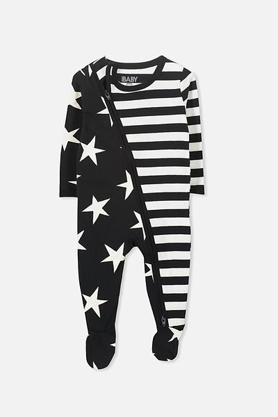 Sleep Mini Zip All In One Jumpsuit, BLACK/STARS AND STRIPES