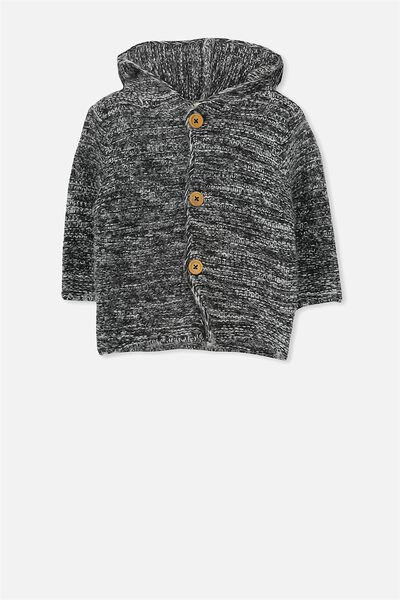 Taylor Hooded Knit, GREY/SALT AND PEPPER