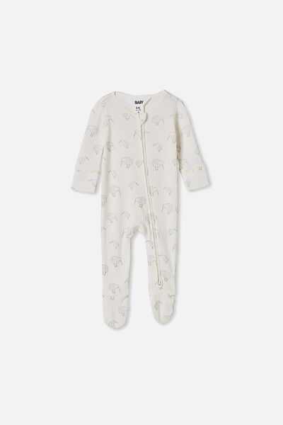 Newborn Zip Through Romper, MILK/KIWI