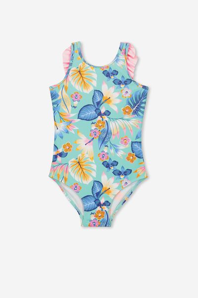 Ebony One Piece Swimsuit, FIJI SEA TROPICAL FLORAL