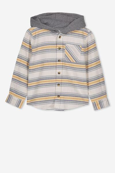 Harrison Hooded Long Sleeve Shirt, YD STRIPE