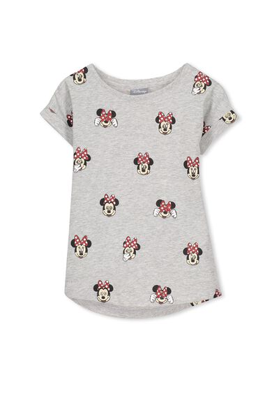 Girls Mini Mouse Short Sleeve Tee, MINNIE MOUSE YARDAGE/GREY MARLE