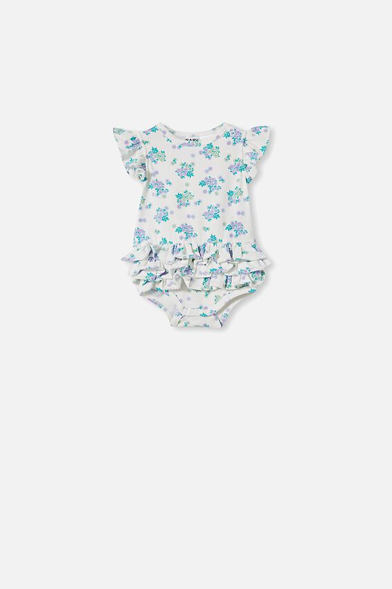 Alice Ruffle Bubbysuit, VANILLA/BLUE BIRD MINI RETRO FLORAL
