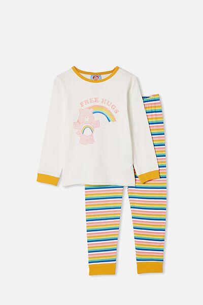 Florence Long Sleeve Pyjama Set, LCN CARE BEARS/VANILLA